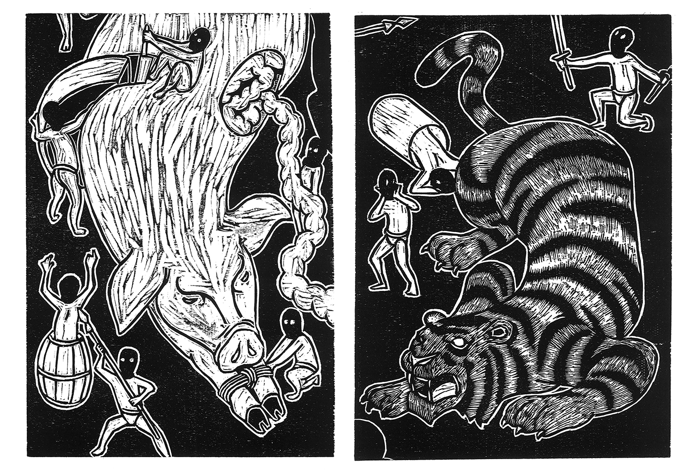 The Tiger and the Pig - Relief prints by Jan Curious